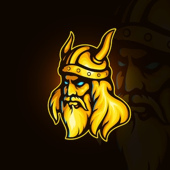 Logotipo dourado do viking no estilo esport