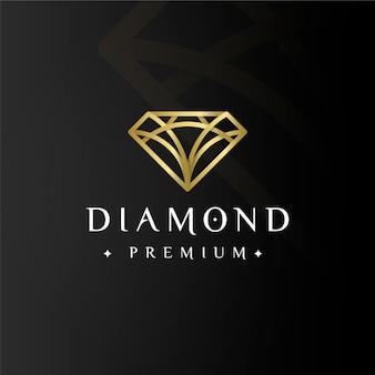 Logotipo dourado elegante de diamante premium