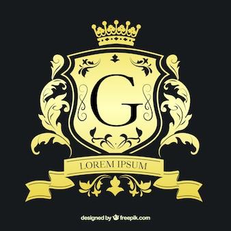 Logotipo dourado em estilo vintage e luxo