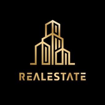 Logotipo dourado imobiliário de luxo