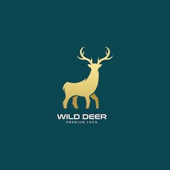 Logotipo dourado mínimo de cervo selvagem