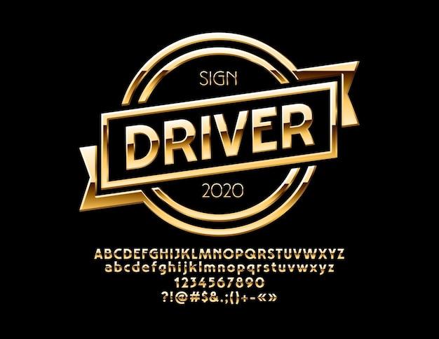 Logotipo dourado para motocicletas e lojas de automóveis, letras do alfabeto de luxo, números e símbolos