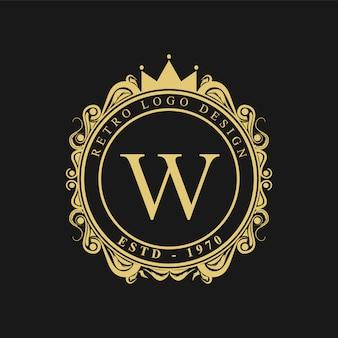 Logotipo dourado retrô de luxo
