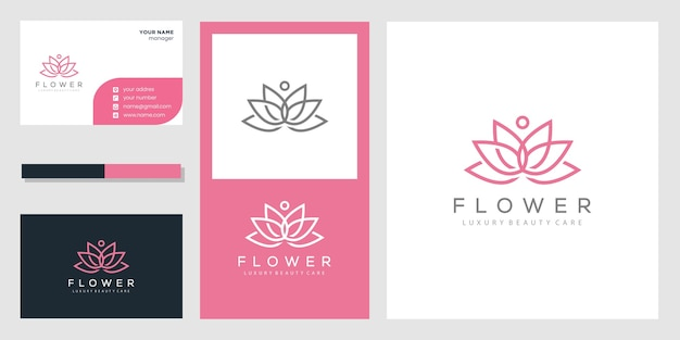 Logotipo e cartão de visita abstratos da flor de lótus