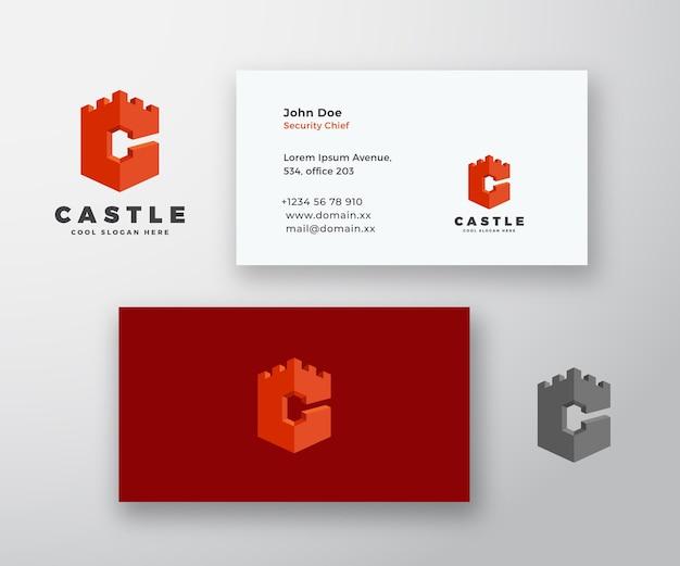 Logotipo e cartão de visita abstratos do castelo