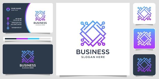 Logotipo e cartão de visita abstratos do chip