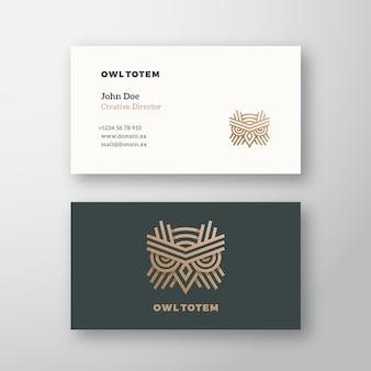 Logotipo e cartão de visita abstratos do totem da coruja