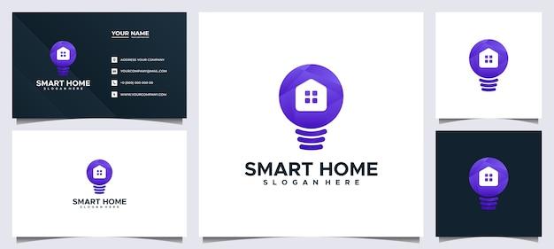 Logotipo e cartão de visita colorido da casa inteligente, com casa conceito e lâmpada