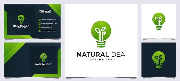 Logotipo e cartão de visita colorido da ideia fresca, com folha verde conceito e lâmpada