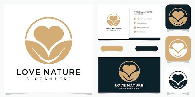 Logotipo e cartão de visita creative love nature premium vektor