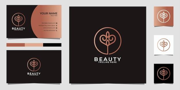 Logotipo e cartão de visita da arte da linha de flores da beleza