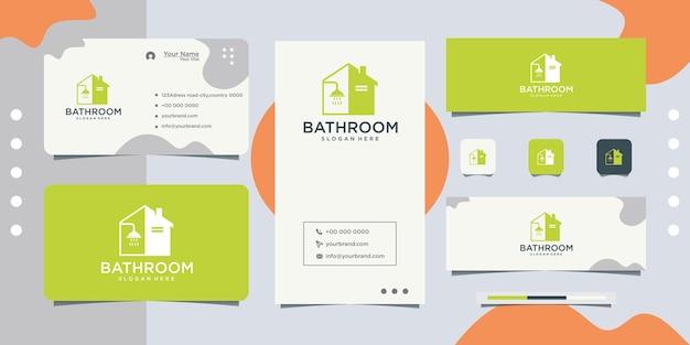 Logotipo e cartão de visita da caixa do banheiro