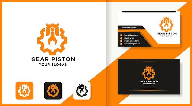 Logotipo e cartão de visita da combinação de engrenagem de pistão de chave inglesa