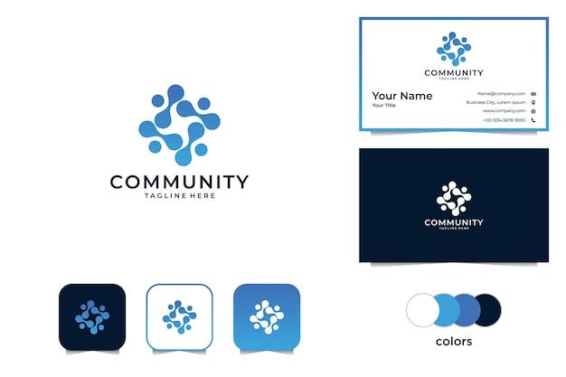 Logotipo e cartão de visita da comunidade moderna