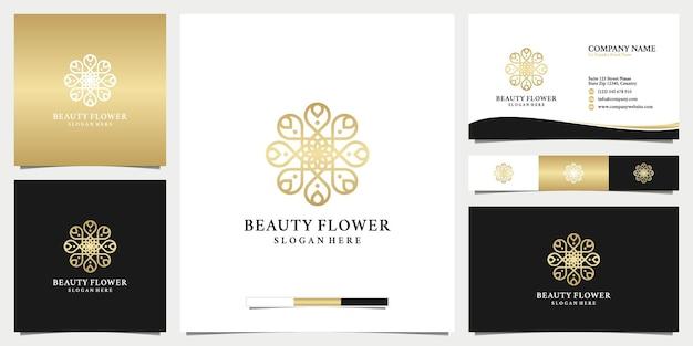 Logotipo e cartão de visita da flor de beleza dourada