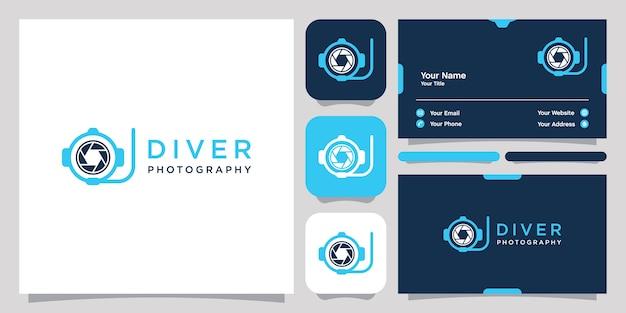 Logotipo e cartão de visita da fotografia do mergulhador