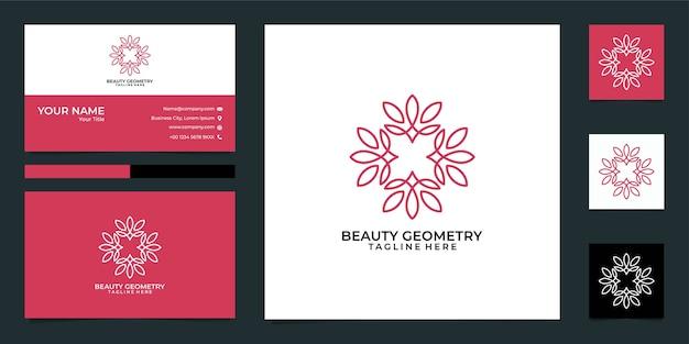 Logotipo e cartão de visita da geometria de lótus da beleza