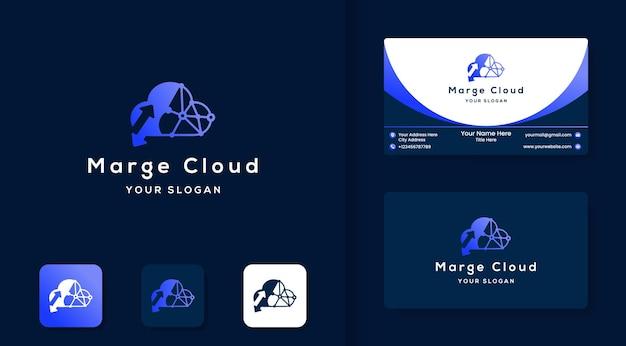 Logotipo e cartão de visita da tecnologia de cursor em nuvem