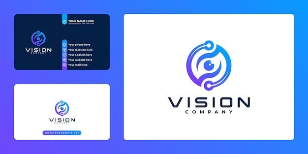 Logotipo e cartão de visita da tecnologia de visão do olho