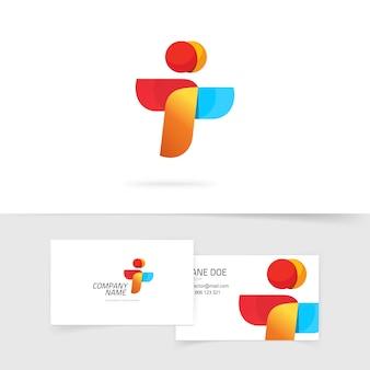 Logotipo e cartão de visita da unidade de duas pessoas