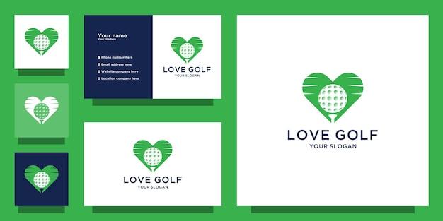 Logotipo e cartão de visita de amor do golfe