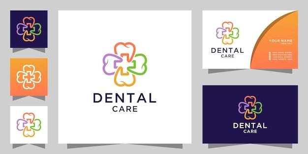 Logotipo e cartão de visita de atendimento odontológico