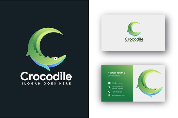 Logotipo e cartão de visita de crocodilo de letra c