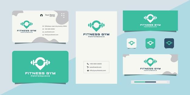Logotipo e cartão de visita de esportes de fitness de academia