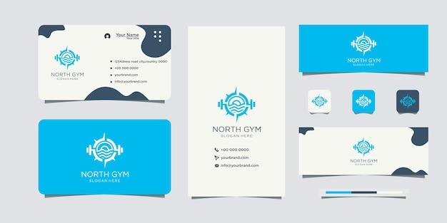 Logotipo e cartão de visita de esportes de fitness