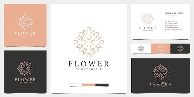 Logotipo e cartão de visita de flores de arte de linha de luxo