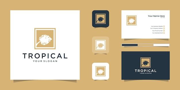 Logotipo e cartão de visita de folhas verdes tropicais