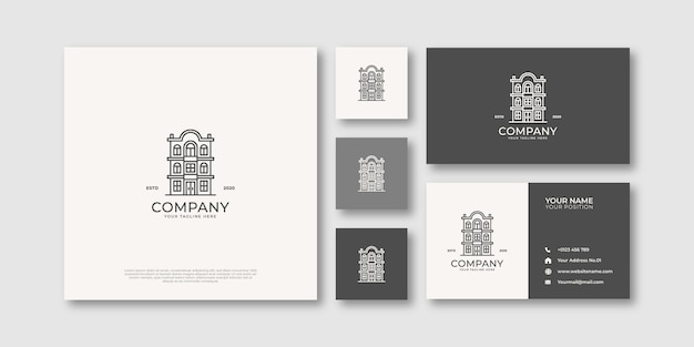 Logotipo e cartão de visita de imóveis do edifício monoline