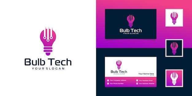 Logotipo e cartão de visita de lâmpada de tecnologia moderna