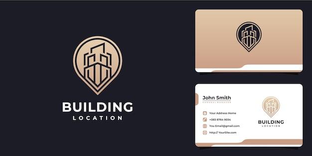 Logotipo e cartão de visita de luxo da localização do edifício