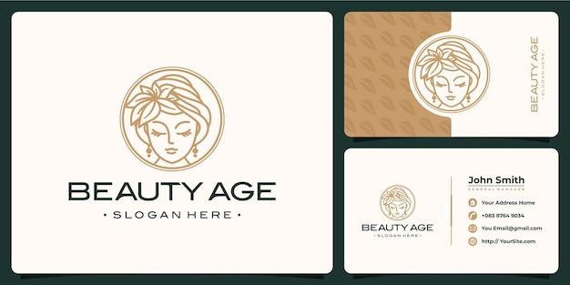 Logotipo e cartão de visita de luxo de mulher de beleza