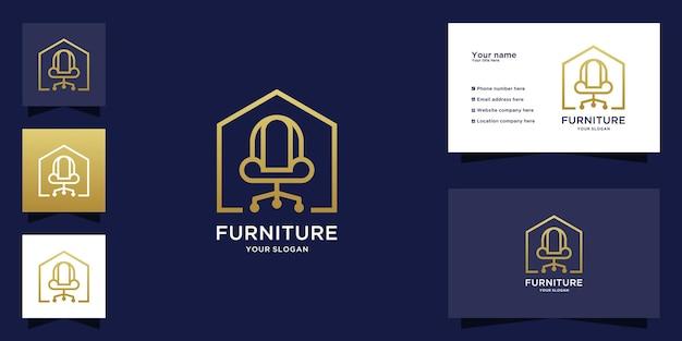 Logotipo e cartão de visita de móveis de luxo minimalistas