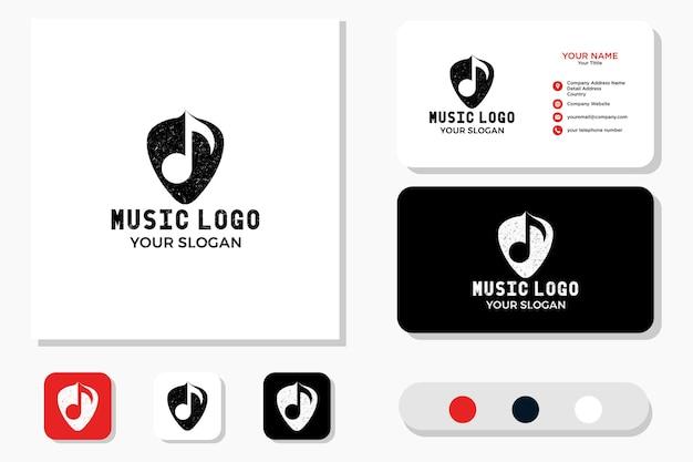 Logotipo e cartão de visita de nota musical e palheta de guitarra