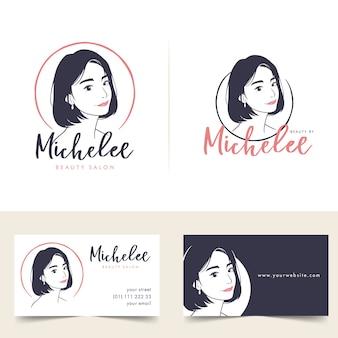 Logotipo e cartão de visita de salão de cabeleireiro feminino