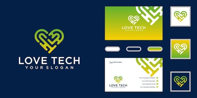 Logotipo e cartão de visita de tecnologia de amor