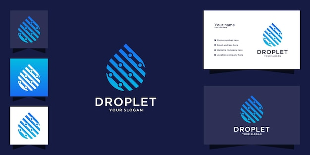 Logotipo e cartão de visita de tecnologia de gota d'água
