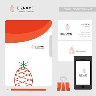 Logotipo e cartão de visita do abacaxi