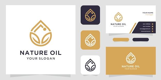 Logotipo e cartão de visita do azeite e folha