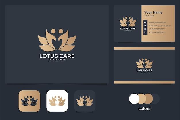 Logotipo e cartão de visita do cuidado de lótus de beleza. bom uso para logotipo médico e spa
