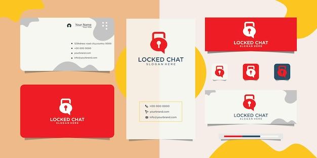 Logotipo e cartão de visita do design de segurança do bate-papo
