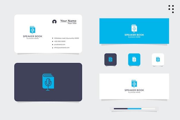 Logotipo e cartão de visita do design do alto-falante do livro de podcast