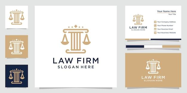 Logotipo e cartão de visita do escritório de advocacia criativo