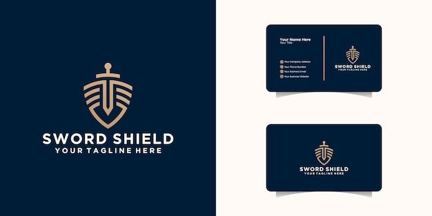 Logotipo e cartão de visita do escritório de advocacia shield sword