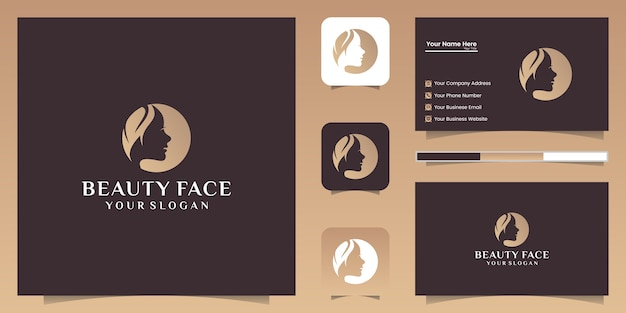 Logotipo e cartão de visita do estilo da folha do rosto da mulher bonita.