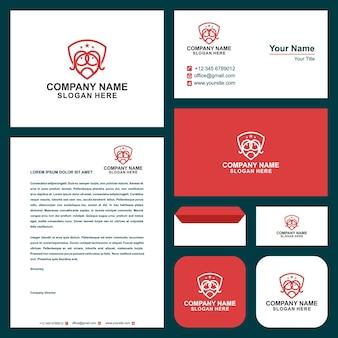 Logotipo e cartão de visita do logotipo do sheild cry