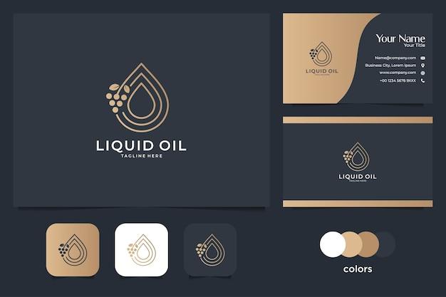 Logotipo e cartão de visita do óleo líquido. bom uso para spa, logotipo da moda